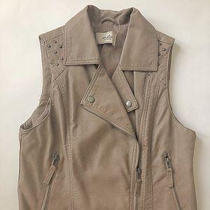 Tan Leather Vest by Amelia